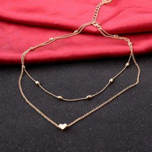 Urban Outfitters Jewelry - Layered Heart Choker Necklace (Gold)